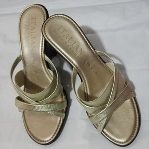Italian Shoemakers Wedge Sandal in Gold Color